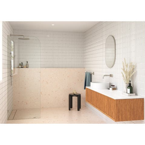 "Glass Warehouse 40"" x 78"" Frameless Shower Door - Single Fixed Panel Radius"