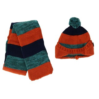 Foemo Kids' Knitted Scarf and Beanie with Pom Winter Set