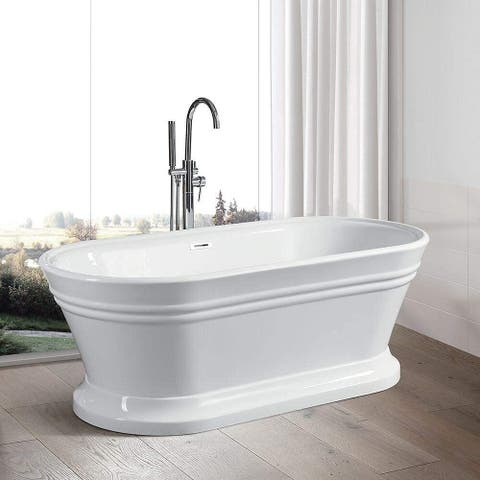 "Vanity Art 67"" Freestanding White Acrylic Bathtub Modern Stand Alone Soaking Tub with Polished Chrome Overflow & Pop-up Drain"