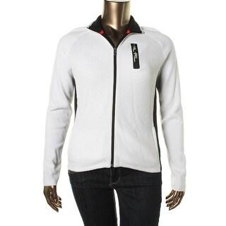 L-RL Lauren Active Womens Cotton Contrast Trim Full Zip Sweater - M