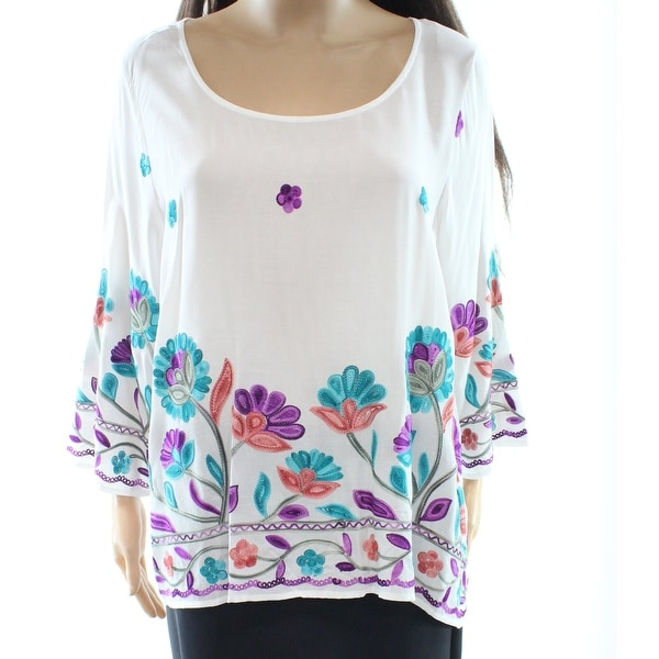 Shop Radzoli NEW White Women s Medium M Floral Embroidered Tunic Blouse Top  - Free Shipping On Orders Over  45 - Overstock - 20437465