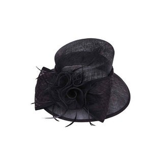 Womens Sheer Top Hat w/ Floral Bow