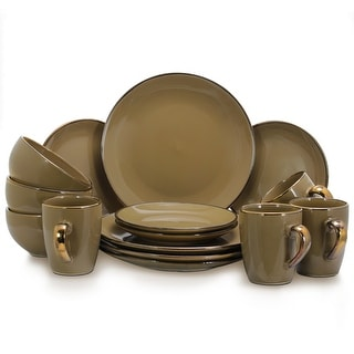 Link to Elama Grand 16-Piece Dinnerware Set in Warm Taupe Similar Items in Dinnerware