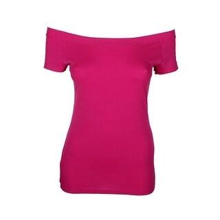 Lauren Ralph Lauren Pink Off-The-Shoulder T-Shirt S