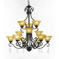 Wrought Iron and Crystal 12 Light 3 Tier French Chandelier Light Fixture