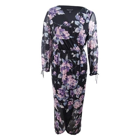 Connected Women's Floral Printed Surplice Maxi Dress - Dusty Pink - 14