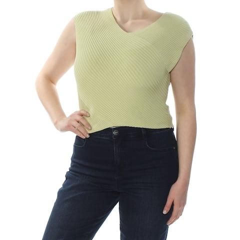 RACHEL ROY Womens Green Sleeveless V Neck Crop Top Top Size XL