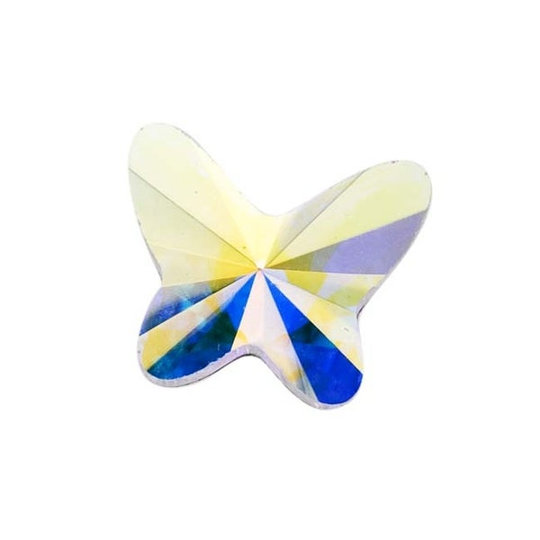 Swarovski Elements Crystal, 2854 Butterfly Flatback Rhinestone 8mm, 4 Pieces, Crystal AB