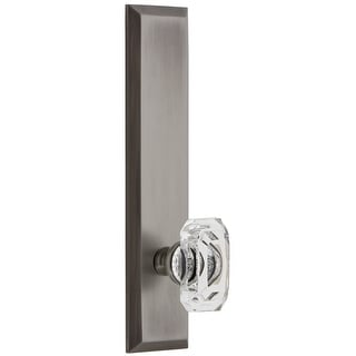Grandeur FAVBCC_TP_PSG_234  Fifth Avenue Solid Brass Rose Tall Plate Passage Door Knob Set with Baguette Clear Crystal Knob and
