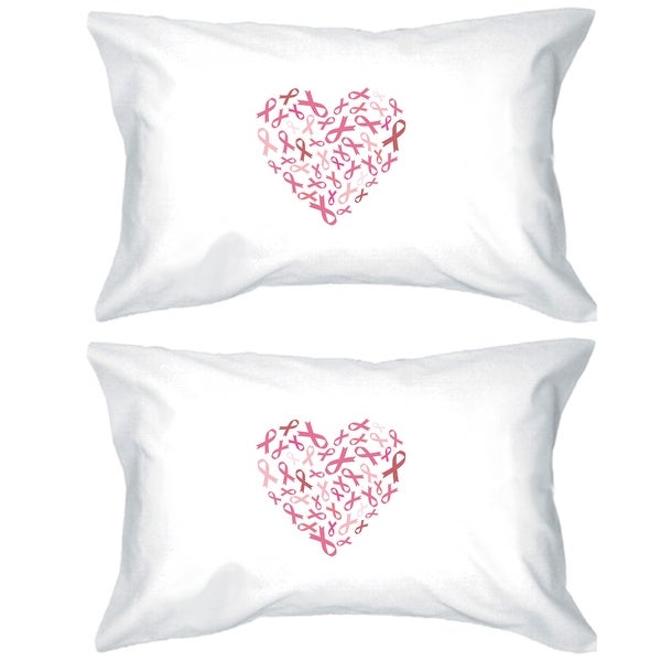 Heart Pink Ribbon Decorative Pillow Cases Breast Cancer Awareness
