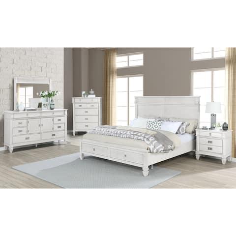 York Wood Antique White Bedroom Set with Storage Platform Bed, Dresser, Mirror, Nightstand, and Chest