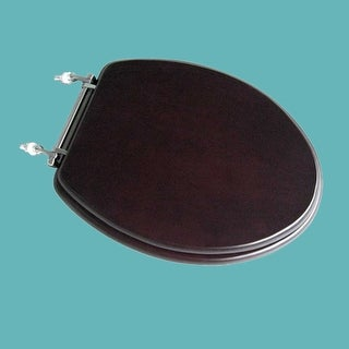 Elongated Toilet Seat Solid Wood Dark Oak Chrome Brass Hinge Renovator's Supply