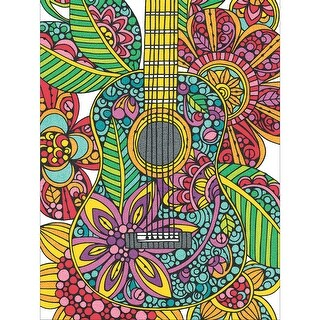 "Pencil Works Color By Number Kit 9""X12""-Blooming Guitar"