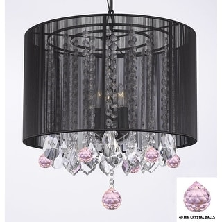 Crystal Chandelier With Large Black Shade and Pink Crystal Balls