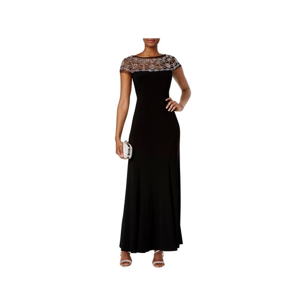 R&M Richards Womens Evening Dress Beaded Black Tie