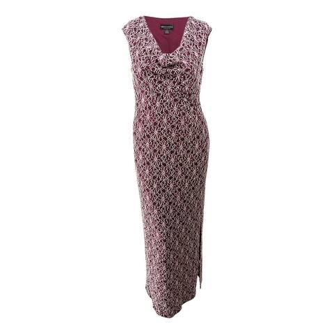 Connected Women's Draped-Neck Sequined Contrast-Lace Gown (16, Bordeaux) - Bordeaux - 16