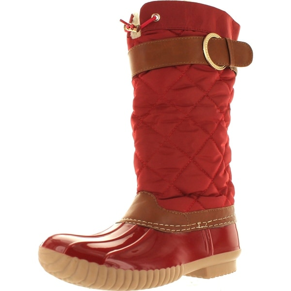 Ny Vip Women's B7777 Tall Duck Boot Rain & Snow Boot With Sherpa Lining And Quilted Canvas Upper