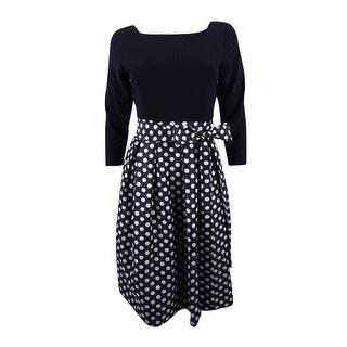 Jessica Howard Women's Petite Polka-Dot Fit & Flare Dress - Black/silver
