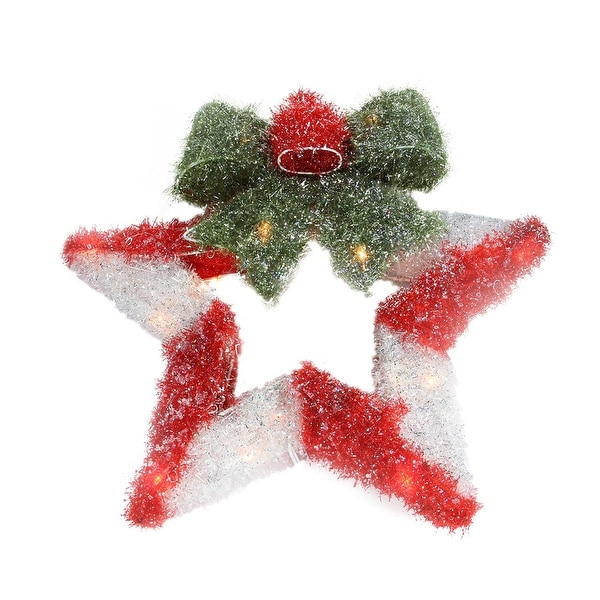 "16"" Lighted Tinsel Red & White Star Wreath with Bow Christmas Window Decoration - multi"