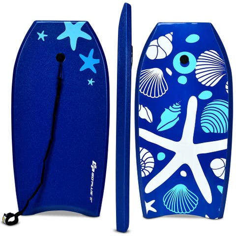 Goplus 37'' Lightweight Super Bodyboard Surfing W/Leash EPS Core Boarding IXPE Starfish