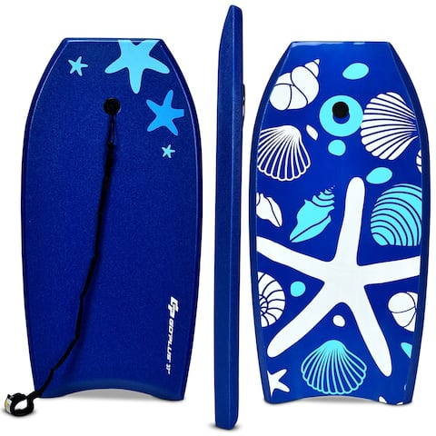Goplus 41'' Lightweight Super Bodyboard Surfing W/Leash EPS Core