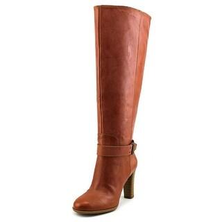 Enzo Angiolini Sumilo Wide Calf Women Round Toe Leather Tan Knee High Boot