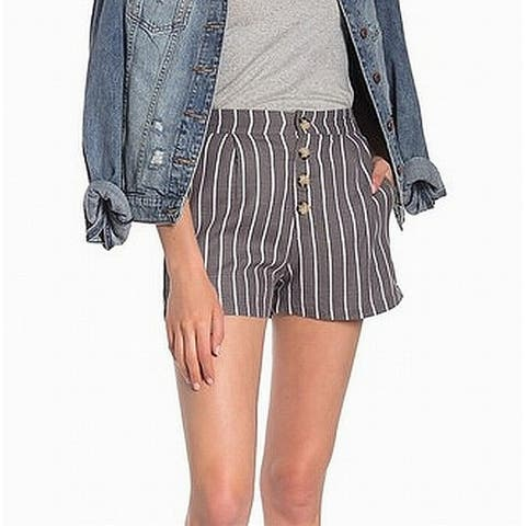 Elodie Womens Shorts Gray White Size XS Striped Button Front Pleated