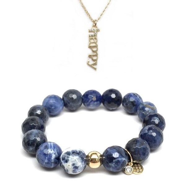 Blue Sodalite Bracelet & CZ Happy Gold Charm Necklace Set