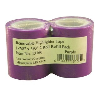 Lee Removable Highlighter Tape Refill, 1-7/8 in, Purple, Pack of 2
