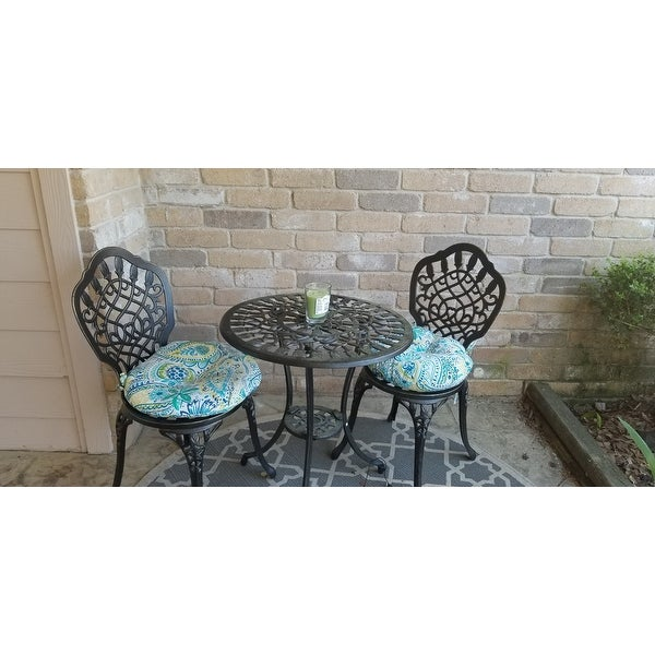 15 Inch Round Outdoor Bistro Chair Cushion, Set Of 2 In Painted Paisley    Free Shipping On Orders Over $45   Overstock.com   21014411
