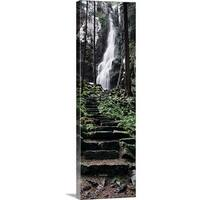 Premium Thick-Wrap Canvas entitled Track to a waterfall in a forest, Burgbach Waterfall, Black Forest, Germany - Multi-color