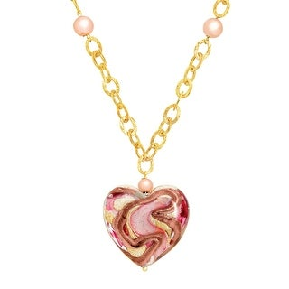 Murano Glass Swirl Heart Necklace in 14K Gold-Bonded Sterling Silver