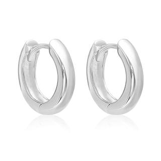 Mcs Jewelry Inc 14 Karat White Gold Huggie Hoop Earrin