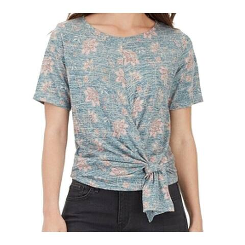 William Rast Blue Womens Size Large L Floral Twist Front T-Shirt Top