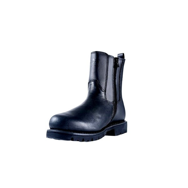 """Ridge Motorcycle Boots Mens All Leather Zip 8"""" Shaft Black"""