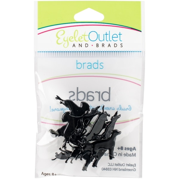 Eyelet Outlet Shape Brads 12/Pkg-Dog Silhouette