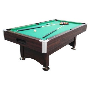 7' x 3.96' Brown and Green Billiard and Pool Game Table