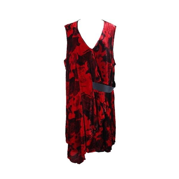 0d0ad6027b0 Rachel Rachel Roy Plus Size Red Draped Velvet Printed Fit  amp  Flare Dress  18W