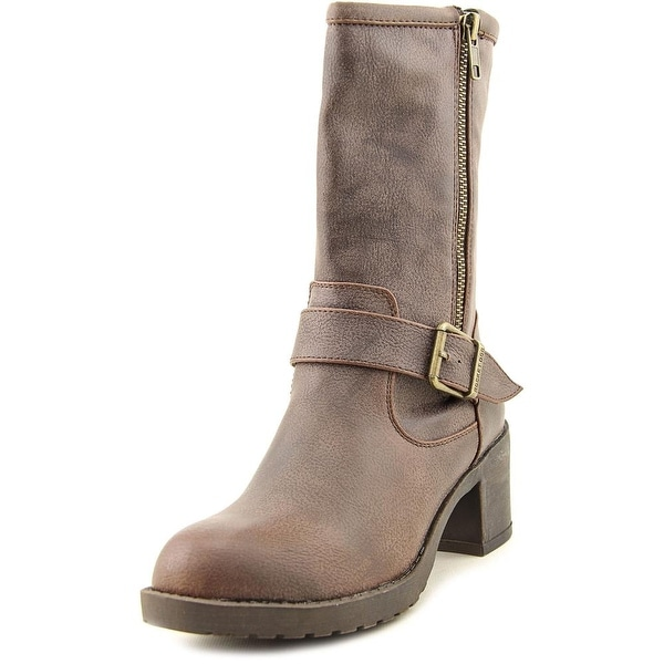 Rocket Dog Hallie Women Round Toe Synthetic Brown Mid Calf Boot