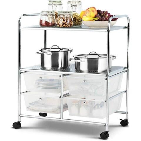 4 Drawers Shelves Rolling Storage Cart Rack-Black
