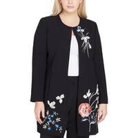 Tahari ASL Womens Plus Jacket Embroidered Long Sleeve