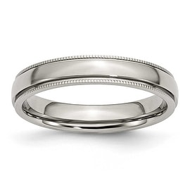 Stainless Steel Grooved and Beaded 4mm Polished Band