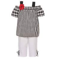 Rare Editions Little Girls Black Checker Print Flower 2 Pc Pant Outfit
