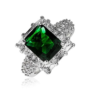 5CT Cubic Zirconia CZ Pave Rectangle Green Imitation Emerald Cut Statement Fashion Ring For Women Silver Plated Brass