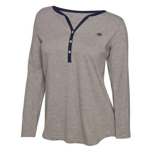 Tommy Hilfiger Grey Blue Trim Button Long Sleeve Monogrammed Tshirt M-L