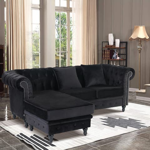 Velvet Chesterfield Rolled Arm Sofa With Ottoman