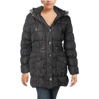 Urban Republic Womens Juniors Parka Coat Hooded Belted