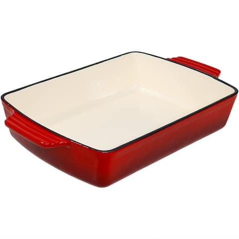 Sunnydaze Enameled Cast Iron Deep Baking Dish Roaster Lasagna Pan Red 11.5 Inch
