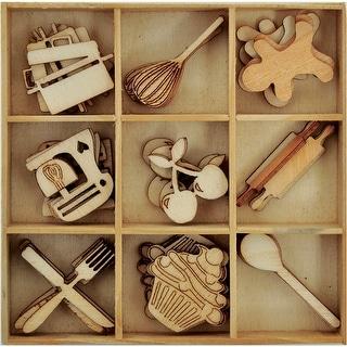 Themed Mini Wooden Flourishes 45/Pkg-Bon Appetit Cooking