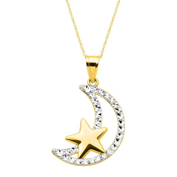 Just Gold Moon & Star Pendant in 14K Gold with Rhodium Finish - Yellow